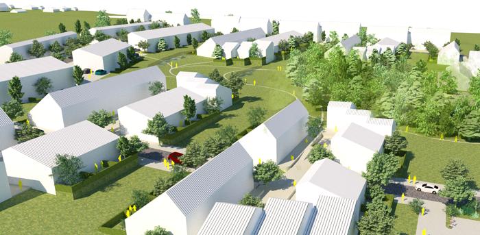 En idéskiss om hur området Sandby backe kan utvecklas. Illustration: Stadstudio