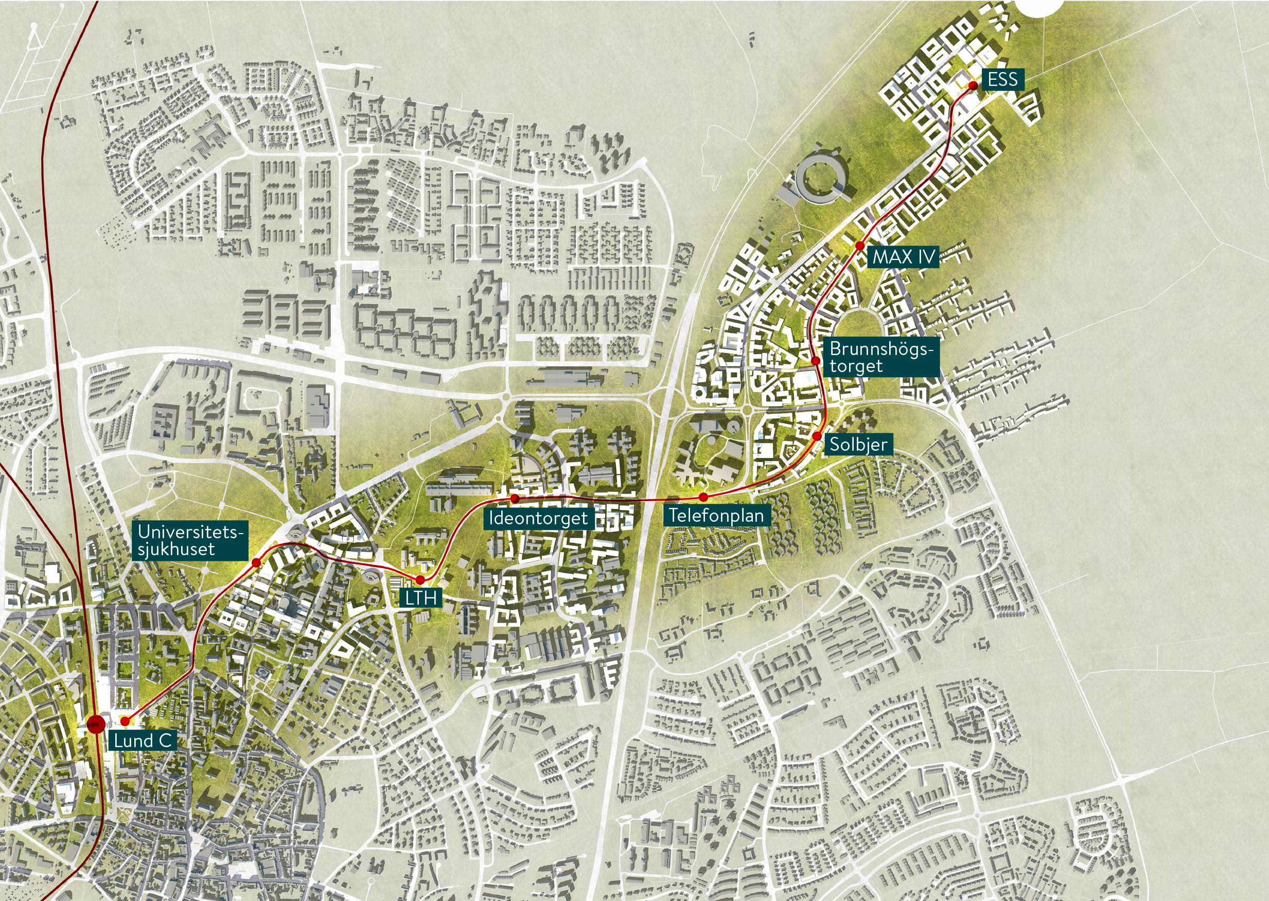 Visionskarta: Så kommer Lund växa i anslutning till spårvägen på linjen Lund C - ESS.