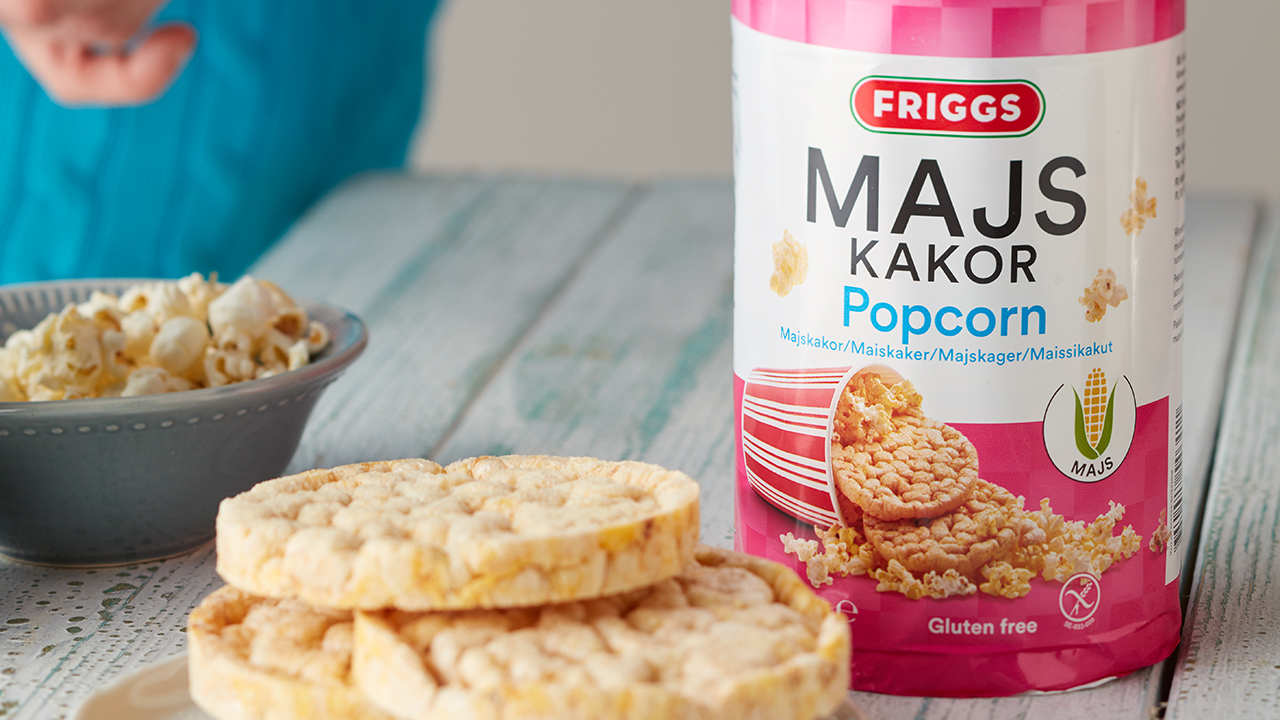 Nyhet: Ferdigpoppet og klar - nå kommer Friggs Maiskaker Popcorn!