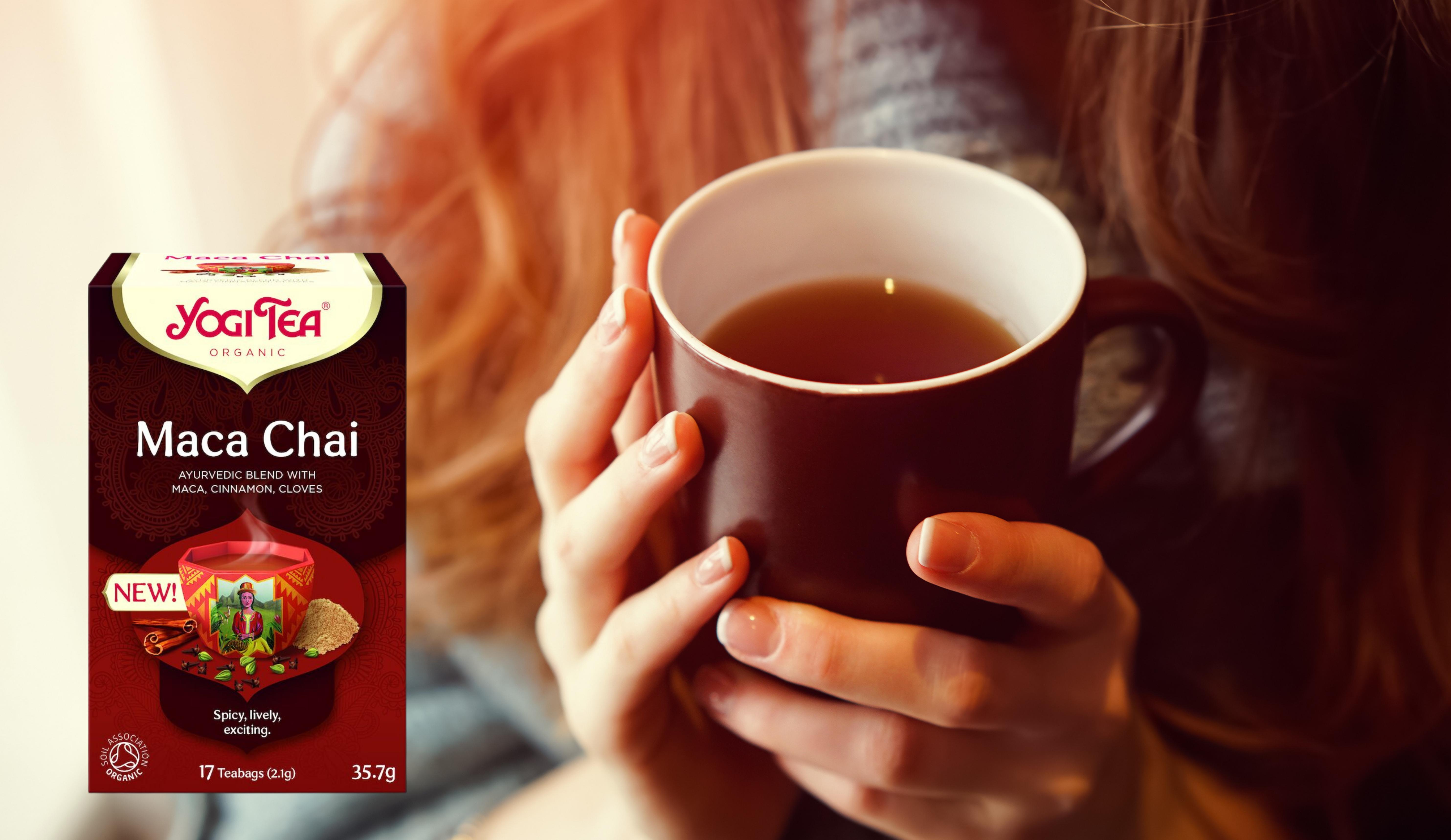 Makea, mausteinen ja lämmittävä Yogi Tea uutuus Maca Chai syksyn pimeneviin iltoihin