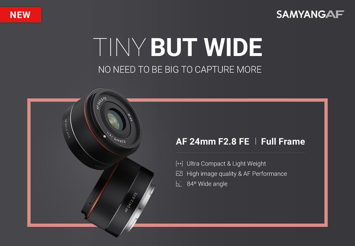 Mažas ir lengvas plataus kampo objektyvas skirtas Sony FE