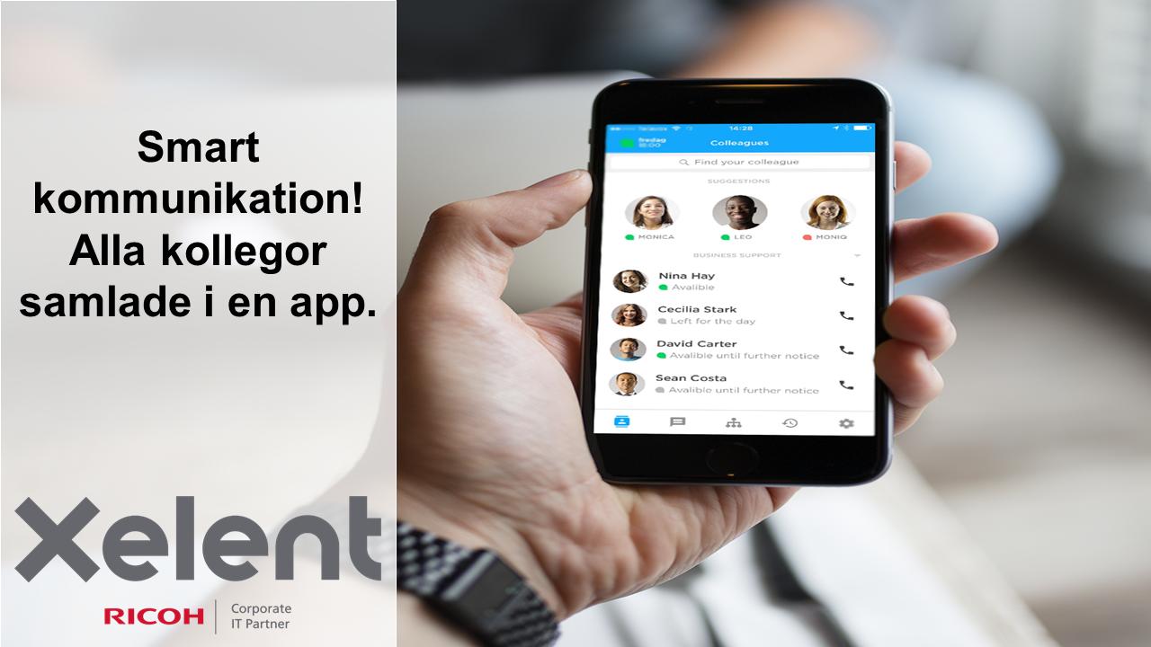 I appen kan du koppla samtal, öppna och stänga växeln, chatta med kollegor, se vem som ringer även om kontakten inte är sparad, ringa billigare utomlands och mycket, mycket mer.
