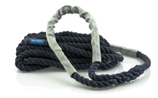 Bild med länk till högupplöst bild Förtöjningslinan STORM navyblå med silvergrå slithylsor