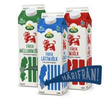 Färsk mjölk från Arlas södra region.