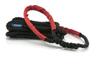 Bild med länk till högupplöst bild Förtöjningslinan STORM svart med röda slithylsor