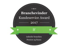 If Skadeforsikring branchevinder af Kundeservice Award 2017, inden for Pension og Finans