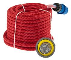 Bild med länk till högupplöst bild Strömkabel ELLINOR röd med CEE- och Furrion-kontakt