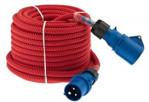 Bild med länk till högupplöst bild: Strömkabel ELLINOR röd med CEE-kontakter