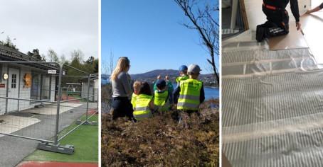 Arbeidsfolk i skjønn forening med barn og ansatte i barnehagen!
