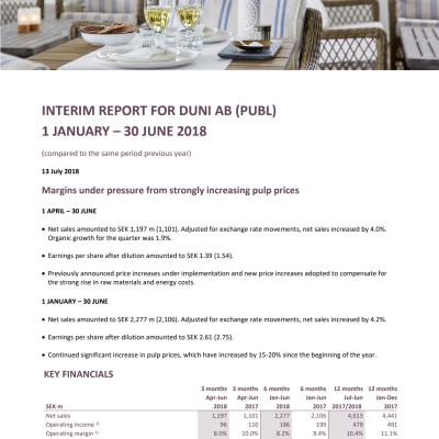 INTERIM REPORT FOR DUNI AB (PUBL) 1 JANUARY – 30 JUNE 2018