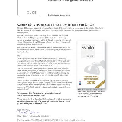 Sveriges Bästa Restauranger korade – White Guide 2010 är här!