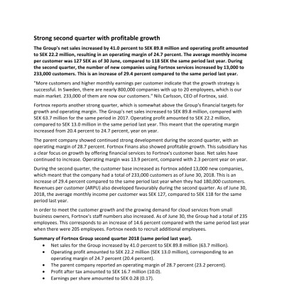 Press release Q2 -18 - english version