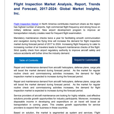 Flight Inspection Market trends research and projections for 2017-2024