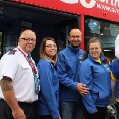 Go North East's Sun FM bus touring Wearside for Local Radio Day