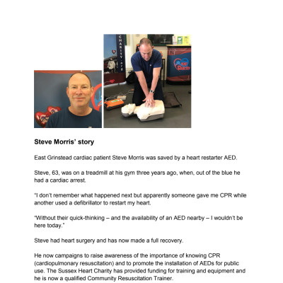 Steve Morris' story about how his life was saved by an AED heart restarter