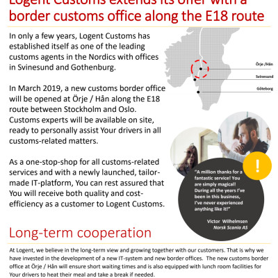 Logent Customs extends its offer with a border customs office along the E18 route