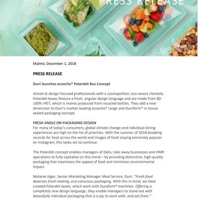 Duni launches ecoecho® Polardeli Box Concept