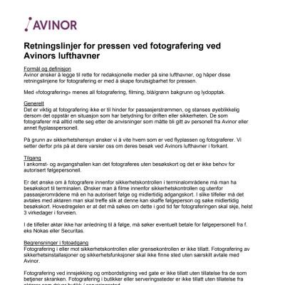 Retningslinjer for filming og fotografering ved Avinors lufthavner