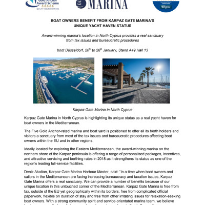 ENGLISH LANGUAGE: Boat Owners Benefit from Karpaz Gate Marina's Unique Yacht Haven Status