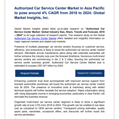 Authorized Car Service Center Market Trends, Analysis, Growth & Forecast, 2018 – 2024