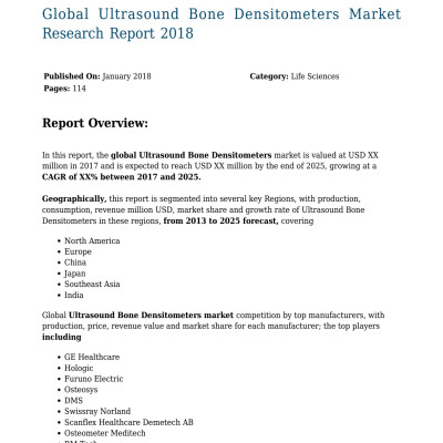 Global Ultrasound Bone Densitometers Market Research Report 2018