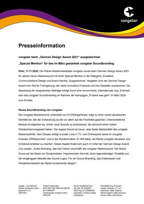 """congstar beim """"German Design Award 2021"""" ausgezeichnet"""