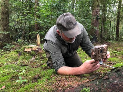 Jerry sets up a trail camera to record the reds