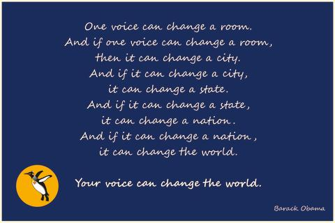 Barack Obama - Your voice can change the world.