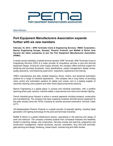 Port Equipment Manufacturers Association adds six more members