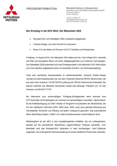 Testwageninformation Mitsubishi ASX: Der Einstieg in die SUV-Welt