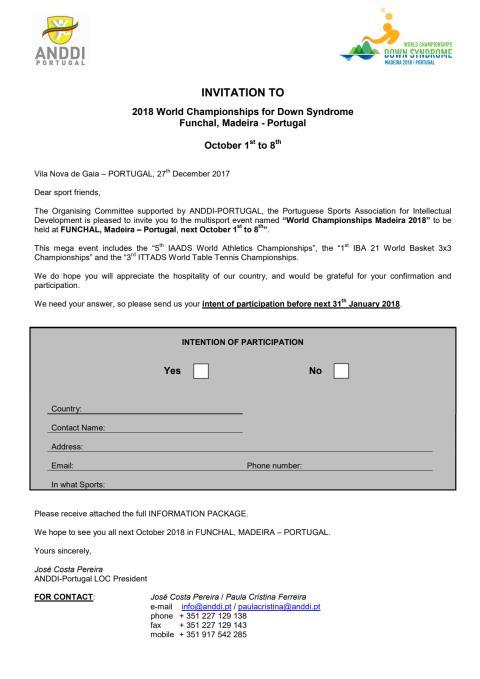 Invitation letter Maderia 2018