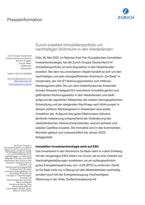 Zurich erweitert Immobilienportfolio um nachhaltigen Wohnturm in den Niederlanden