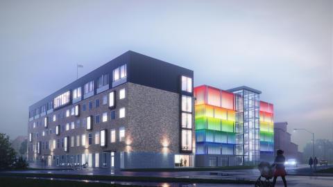 Efterlängtat parkeringshus i Sundsvall får fasad i regnbågens alla färger