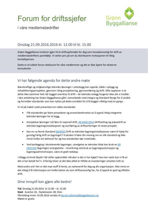 Program Forum for driftssjefer 21. september