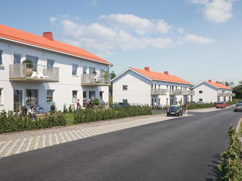 Illustration av baksida på de lägre tvåvåningshusen, med altan/balkong och gräsplätt mot lugn gata.