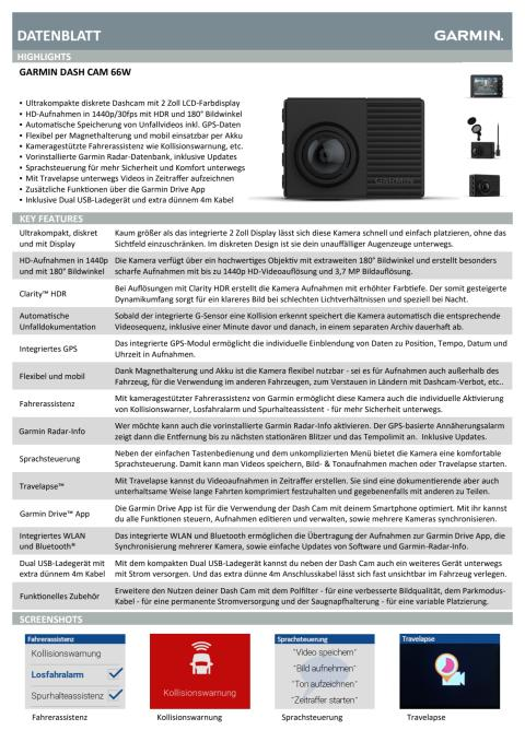 Datenblatt Dash Cam 66W
