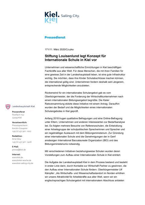 Stiftung Louisenlund legt Konzept für Internationale Schule in Kiel vor