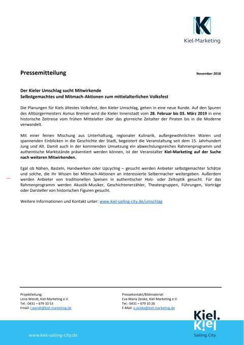 Mitwirkende für den Kieler Umschlag gesucht