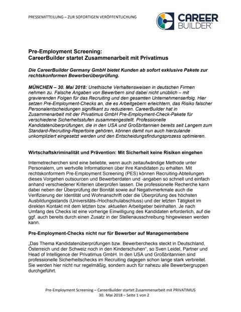 Pre-Employment Screening: CareerBuilder startet Zusammenarbeit mit Privatimus