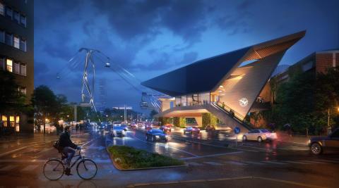 Vinnande förslag i tävlingen för design av Göteborgs stadslinbana.