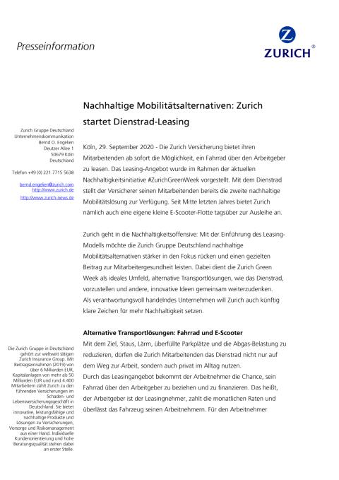 Nachhaltige Mobilitätsalternativen: Zurich startet Dienstrad-Leasing
