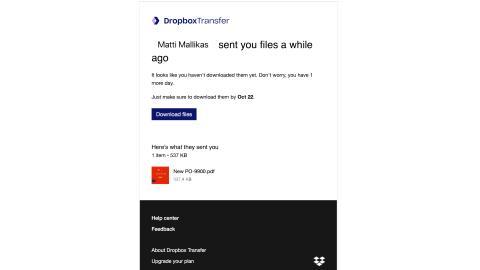 Tietojenkalastelua liikkeellä – katso ennen kuin klikkaat Dropbox-viestin linkkiä