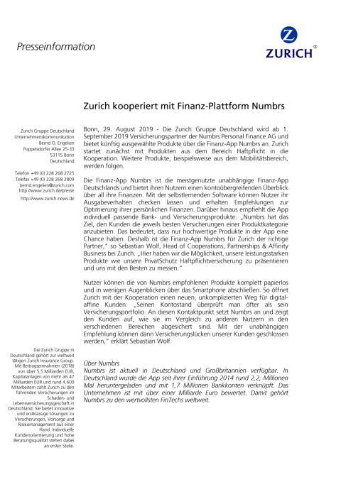 Zurich kooperiert mit Finanz-Plattform Numbrs
