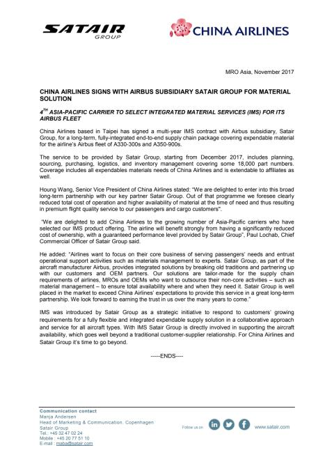 Press Release China Airlines Satair Group IMS (PDF)