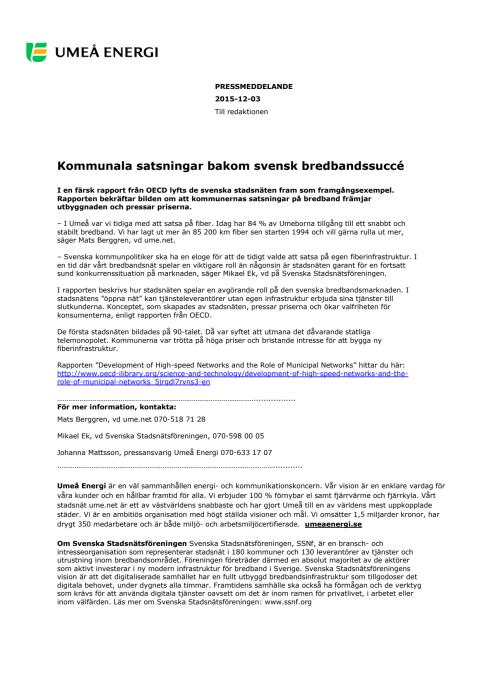 Kommunala satsningar bakom svensk bredbandssuccé