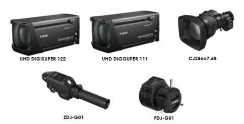 Canon bryter ny mark för 4k broadcastobjektiv och lanserar UHD DIGISUPER 122 med världens bredaste vidvinkel, UHD DIGISUPER 111 samt objektivet CJ25ex7.6B i kategorin UHDxs