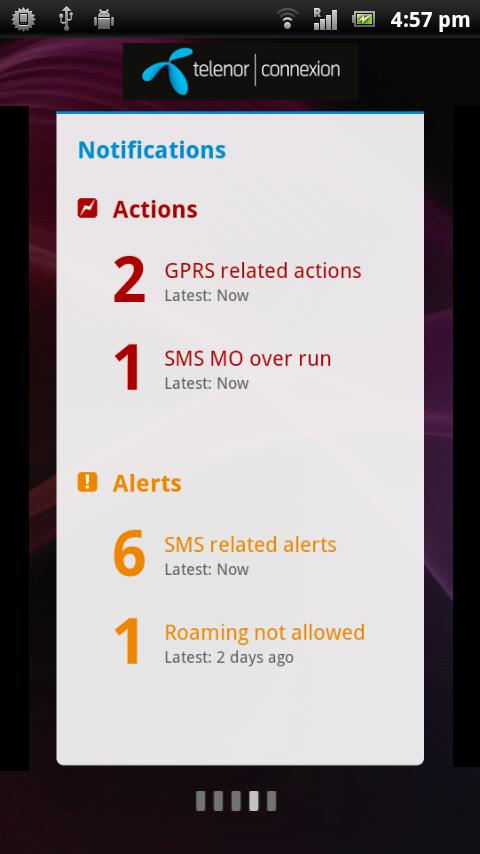 M2M Dashboard mobile app screen 3