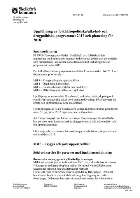 Folkhälsopolitiska programmet 2017 och mål 2018 - uppföljning