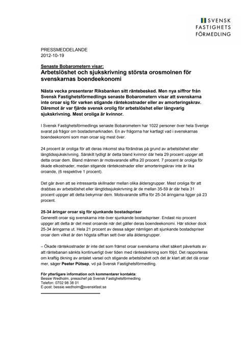 Senaste Bobarometern visar: Arbetslöshet och sjukskrivning största orosmolnen för svenskarnas boendeekonomi