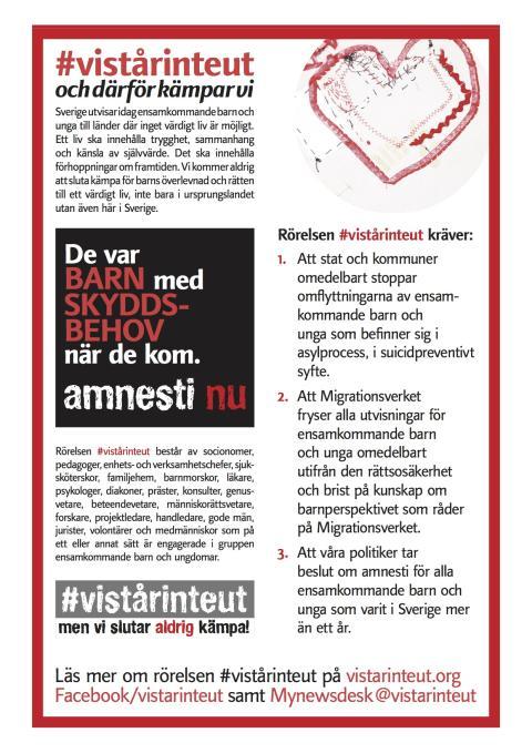 Första maj! Rörelsen #vistårinteut manifesterar för Sveriges ensamkommande barn och unga